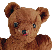 Old, Cinnamon Brown Teddy Bear with Shoe Button Eyes