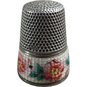 Old, Silver & Guilloche Enamel Thimble with Floral Design - German