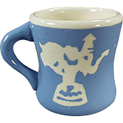 Child's Milk Cup - Old, Blue Cameoware - Harker Pottery Co.