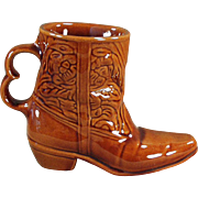 Old, Frankoma Boot Mug - Rich, Glossy Brown Glaze
