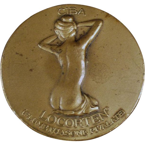 Old, Bronze Advertising Paperweight Medallion - Ciba