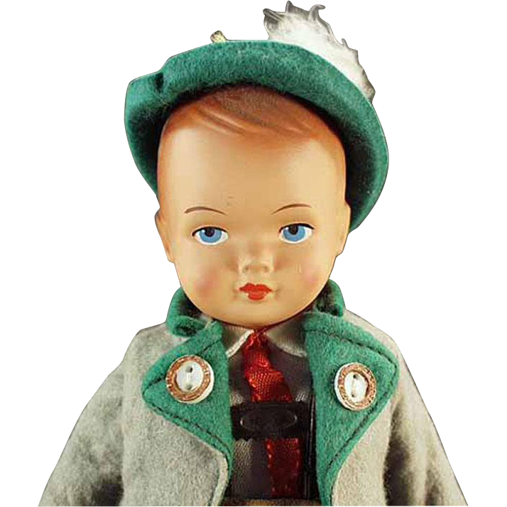 Old Celluloid Doll - Gura with Original Bavarian Outfit