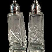 Old Salt & Pepper Set -  Crystal with Sterling Silver Lids
