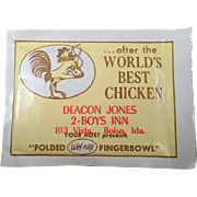 Old Finger Wipes with Chicken Graphics - Boise, Idaho Advertising