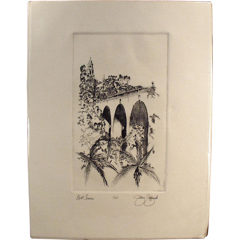 Artist Signed, Numbered Print - Balboa Park - Bell Tower & Cabrillo Bridge