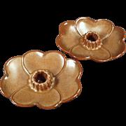 Old Frankoma, Dogwood Candle Holders - Brown Satin Glaze