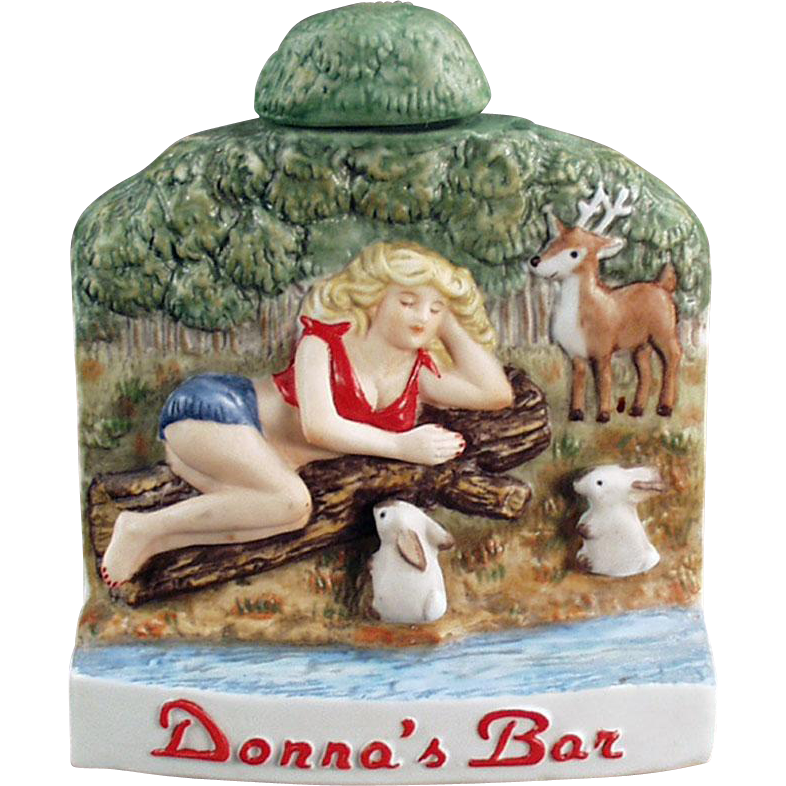Old Souvenir - Donna's Bar, Wells, Nevada - Dug Decanter / Flask