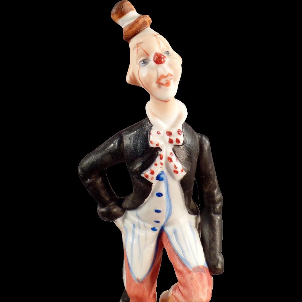 Old, Porcelain Clown Figurine