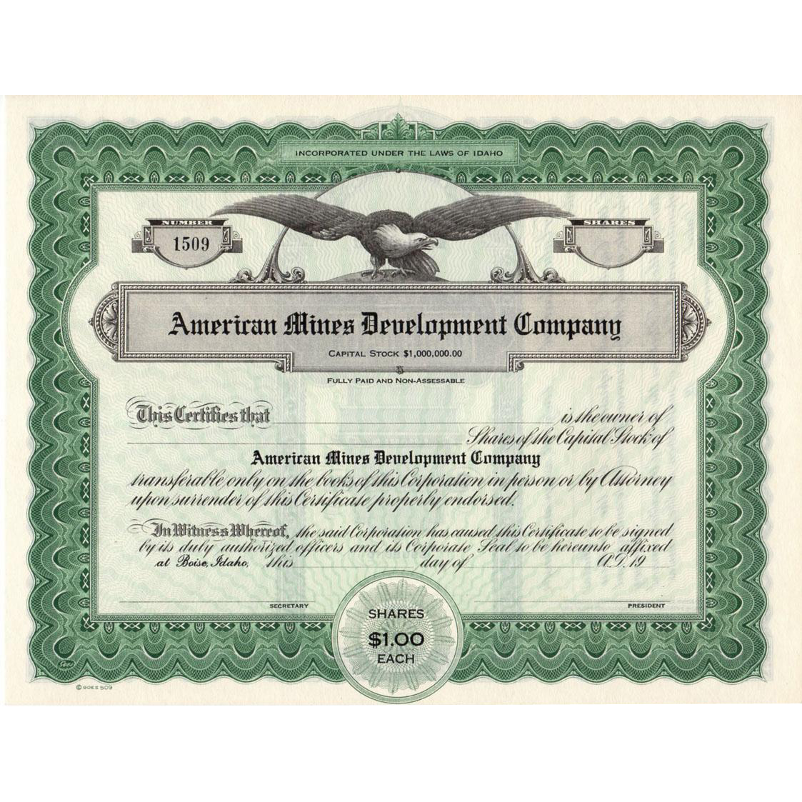 Old, Mining, Capital Stock Certificate - Late 1920's, Idaho