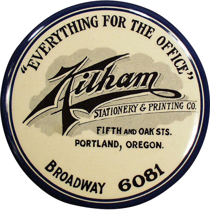 Old, Celluloid Paperweight - Advertising Mirror - Kilham's of Portland
