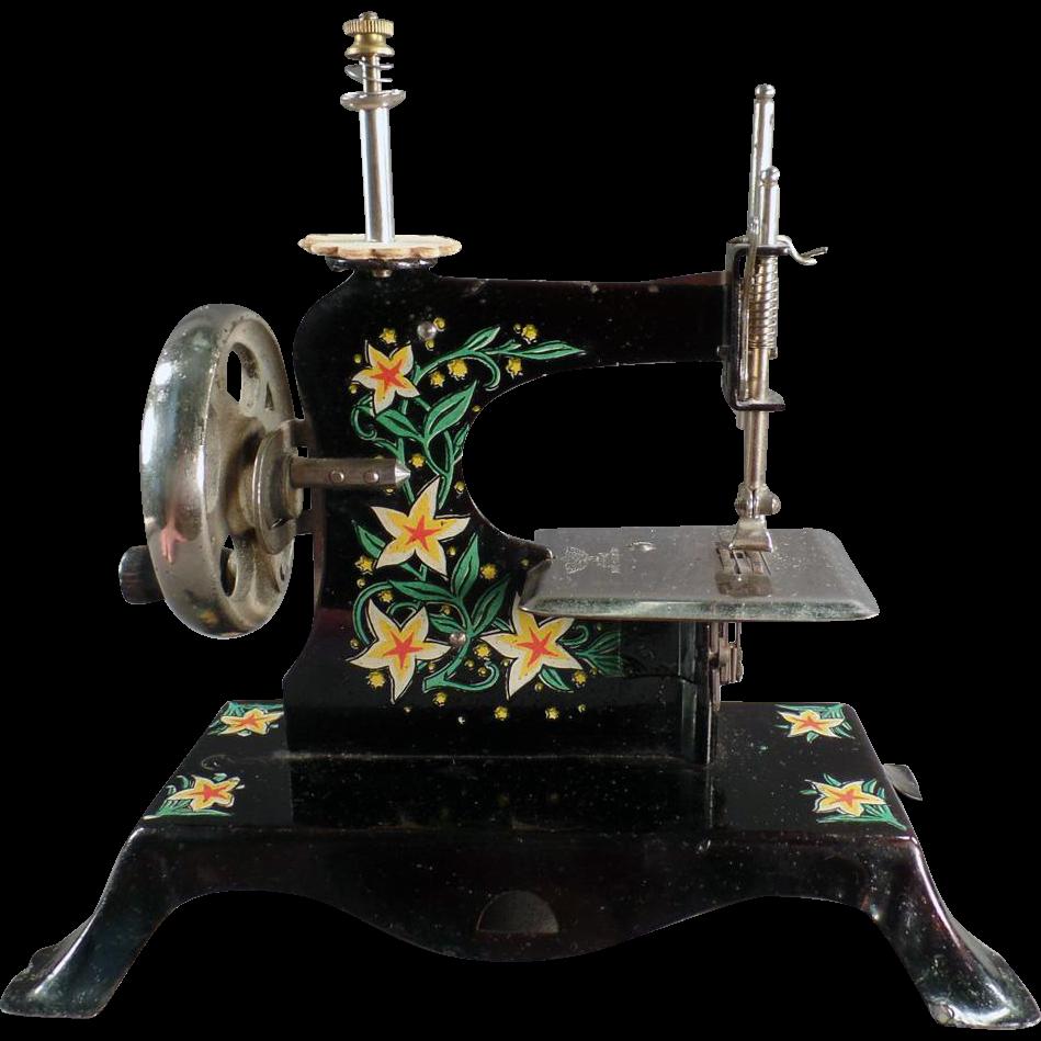 Vintage, Toy Sewing Machine - Yellow Flowers - German