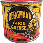 Old, Bergmann, Shoe Grease Advertising Tin