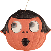 Old Halloween Decoration - Die Cut Pumpkin Girl - Germany