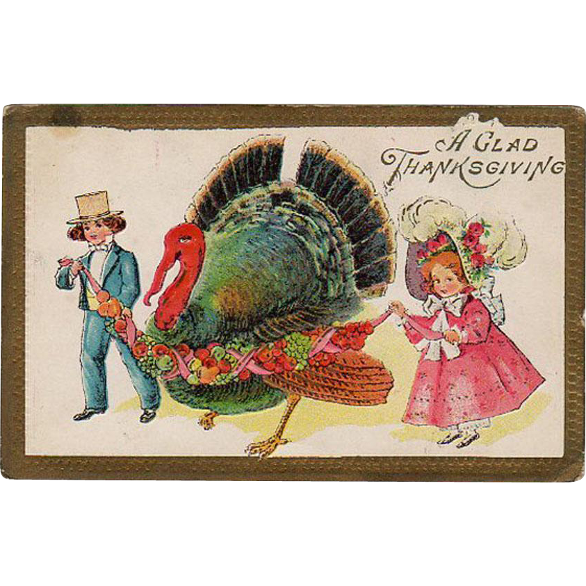 Old, Thanksgiving Postcard - Thanksgiving Turkey with Young Children
