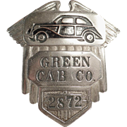Vintage, Cab Driver's Hat Badge - Green Cab Co.