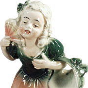 Old Hertwig Figurine, Young Girl with Fan - German