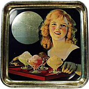 Old Ice Cream Tray with Waitress Serving Ice Cream