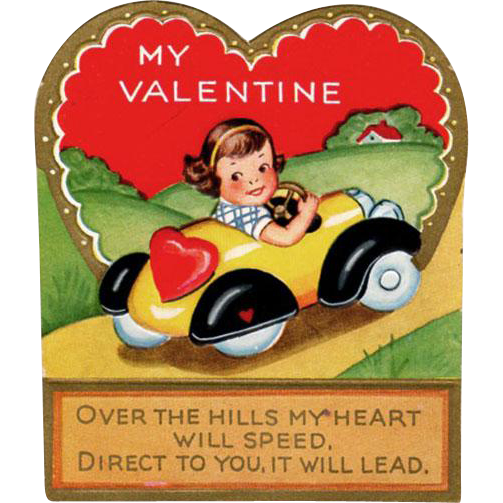 Old Valentine - Little Girl in a Pedal Car