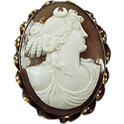 Old, Carved Shell Cameo Brooch - Gold Filled Mount