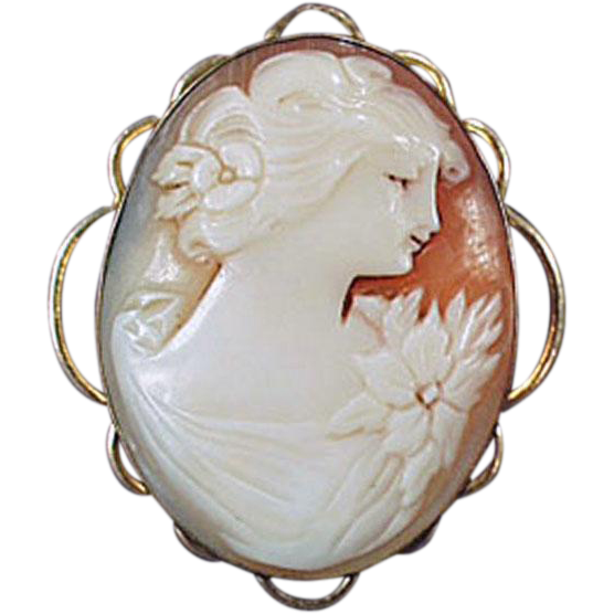 Old, Picture Locket Pendant - Carved Shell Cameo
