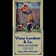 Old Souvenir, Advertising Ink Blotter - Victor Lundeen - Humorous Smoking Scene