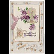 Old Postcard - Greetings with Sundial & Purple Flowers - Germany