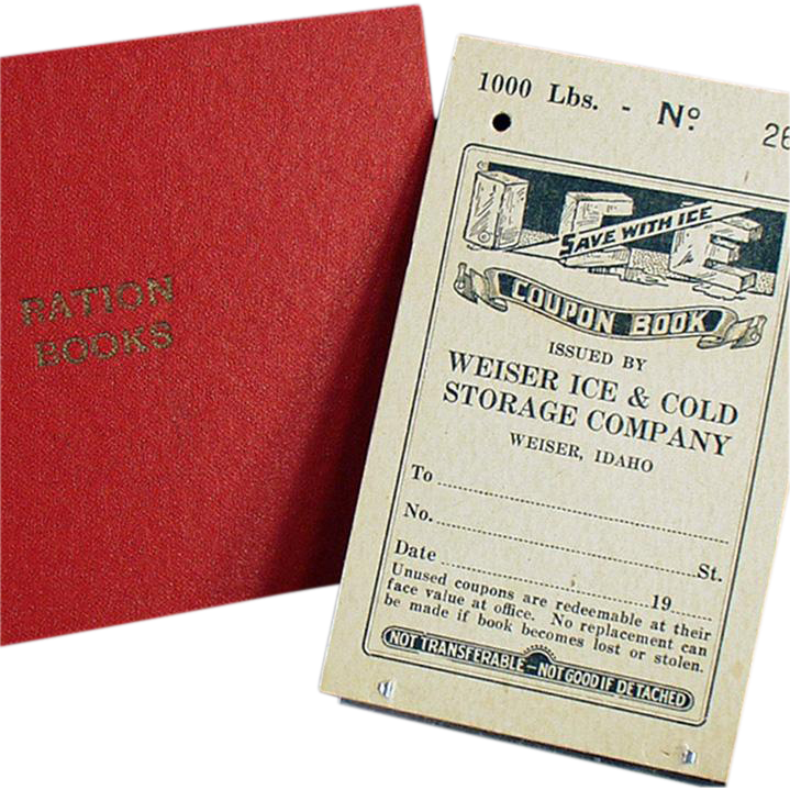 Old Ration Book plus the Holder for Ration Books - Weiser Idaho