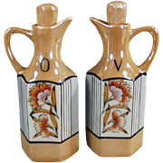 Old, Floral Lusterware, Oil & Vinegar Cruet Set