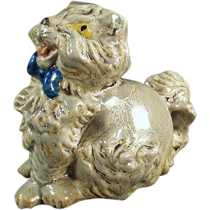 Old, Pottery Cat Figurine with a Happy Disposition