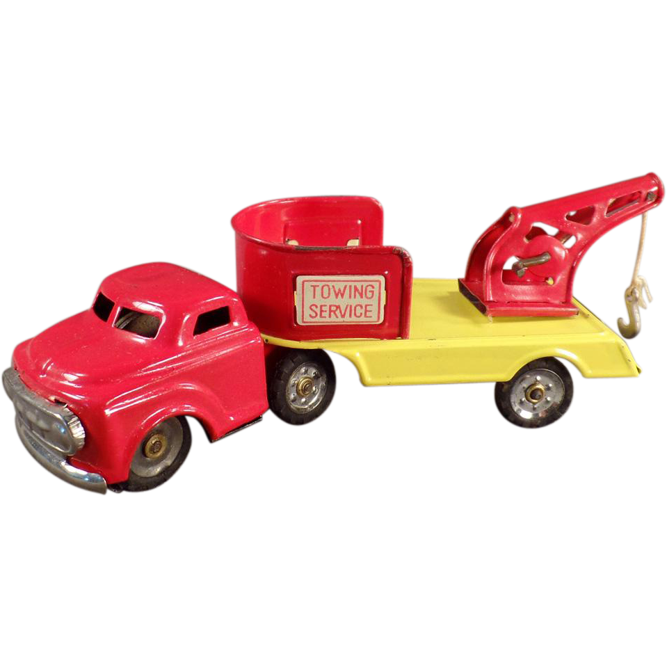 Vintage, Japanese, Tin Toy Wrecker Truck - Towing Service