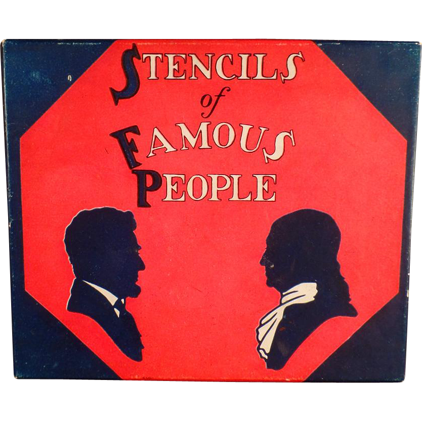 """Old """"Stencils of Famous People"""" - Complete Set with Original Box"""