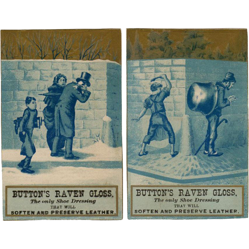 Vintage Trade Cards - Button's Raven Gloss - Mischievous Boys