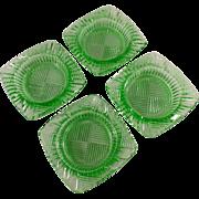 Old, Green Glass Ashtrays - Set of Four (4) - Nice Geometric Pattern