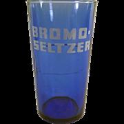 Vintage, Cobalt Blue, Bromo-Seltzer Advertising Glass