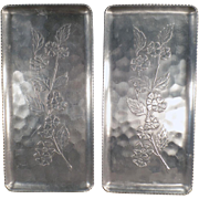 Vintage, Aluminum Serving Trays - Pair - Apple Blossom Design