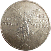 Mexican Coin - 1921 Silver, Dos Pesos - 100th Anniversary of Independence