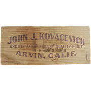 Old Crate Panel - John J. Kovacevich, Wooden Crate Sign