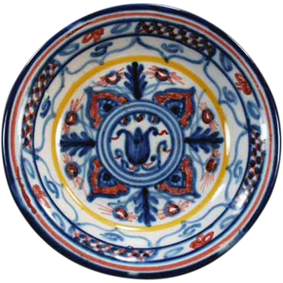 """Colorful, Old Pottery Dish - """"Sevilla"""" - Nice Little Accent Piece"""