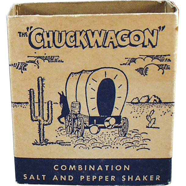 Old Salt & Pepper Set - Chuckwagon with Airstream Advertising