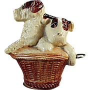 Old, Celluloid Tape Measure - Terrier Puppies in Basket