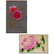 2 Vintage, German Postcards - Embossed Floral Designs