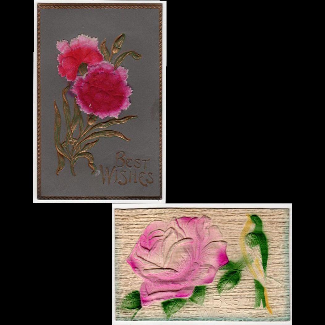 2 Vintage, German Postcards - Embossed Floral Designs