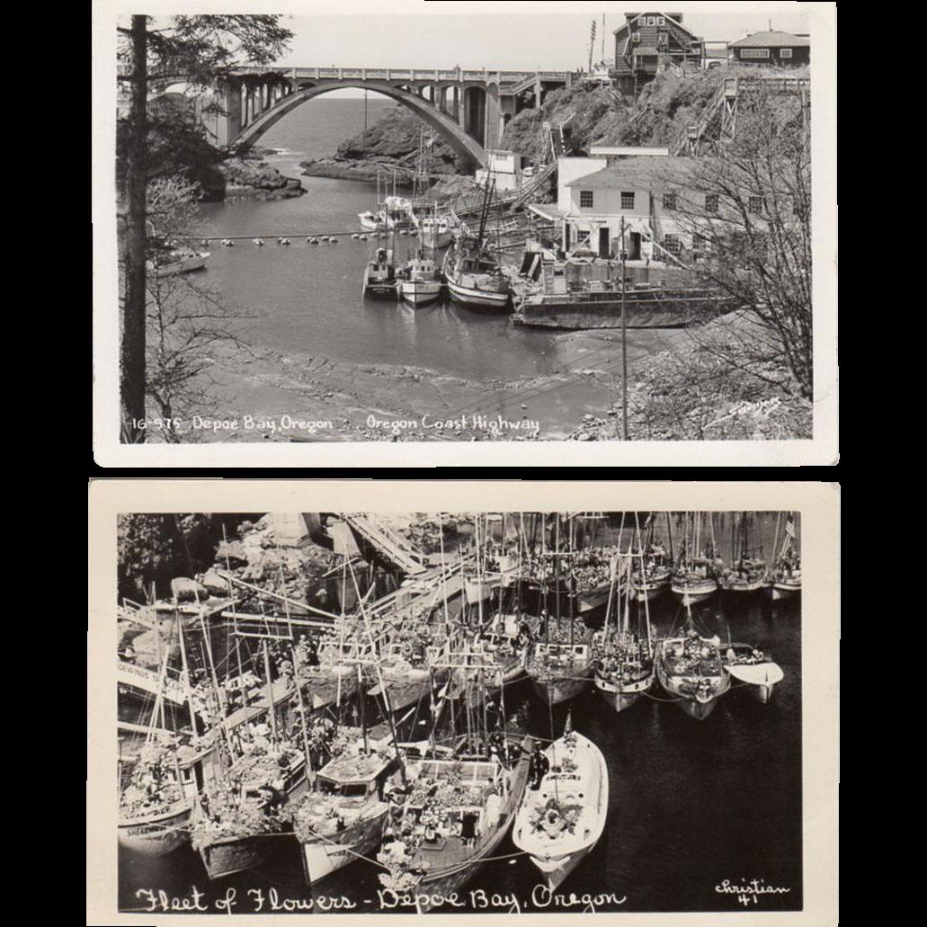 2, Vintage Postcards -Photographs of Depoe Bay, Oregon