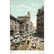 Vintage Postcard - Street Scene of Broadway