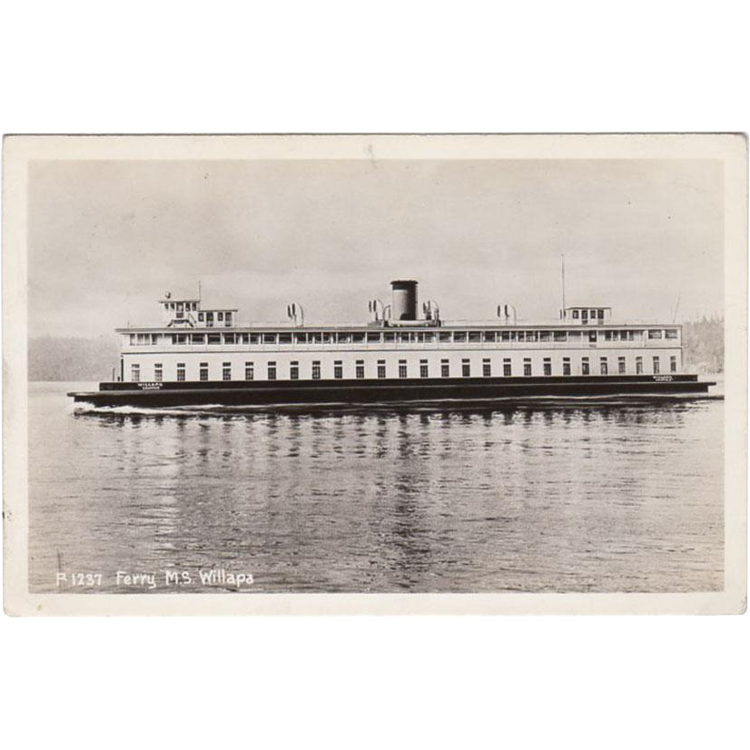 Vintage, Photograph Postcard - Ferry M.S. Willapa, Seattle