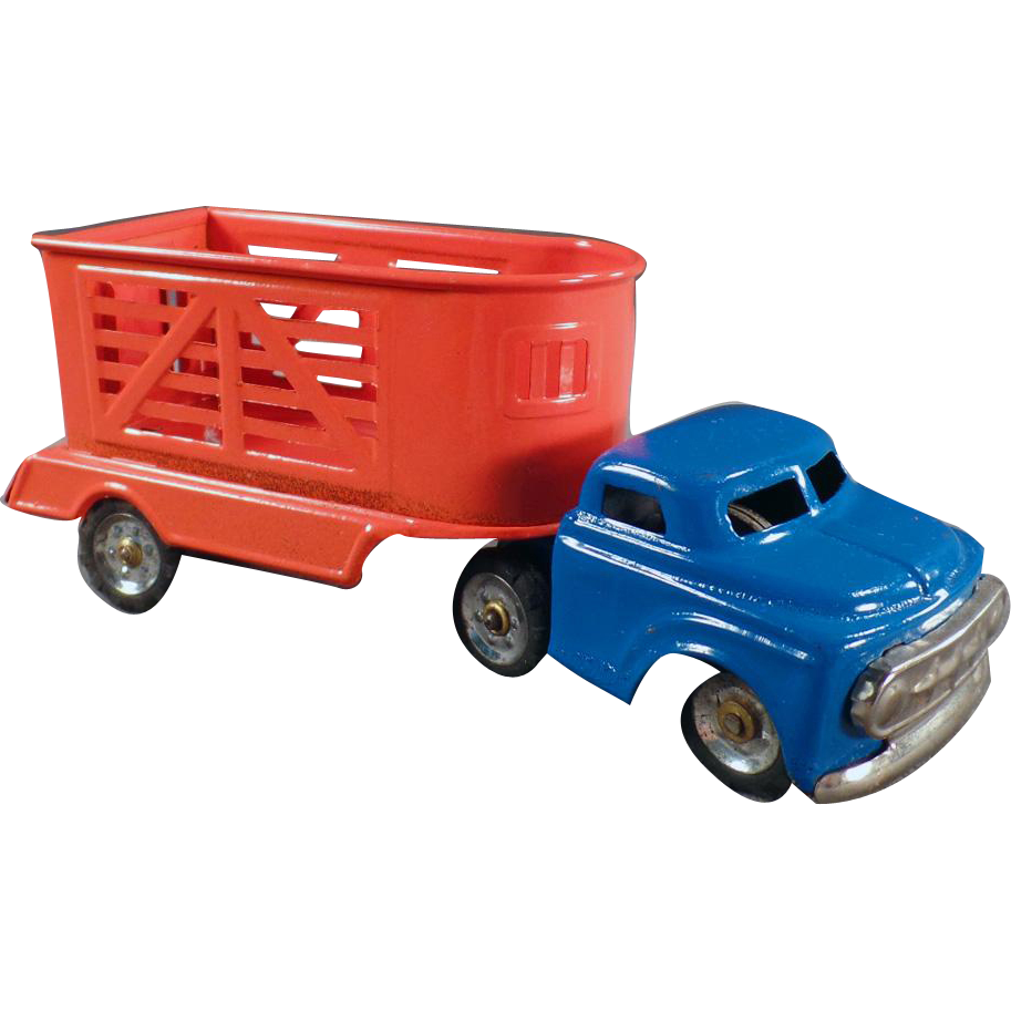 Vintage, Japanese Tin Toy, Truck with Horse Trailer