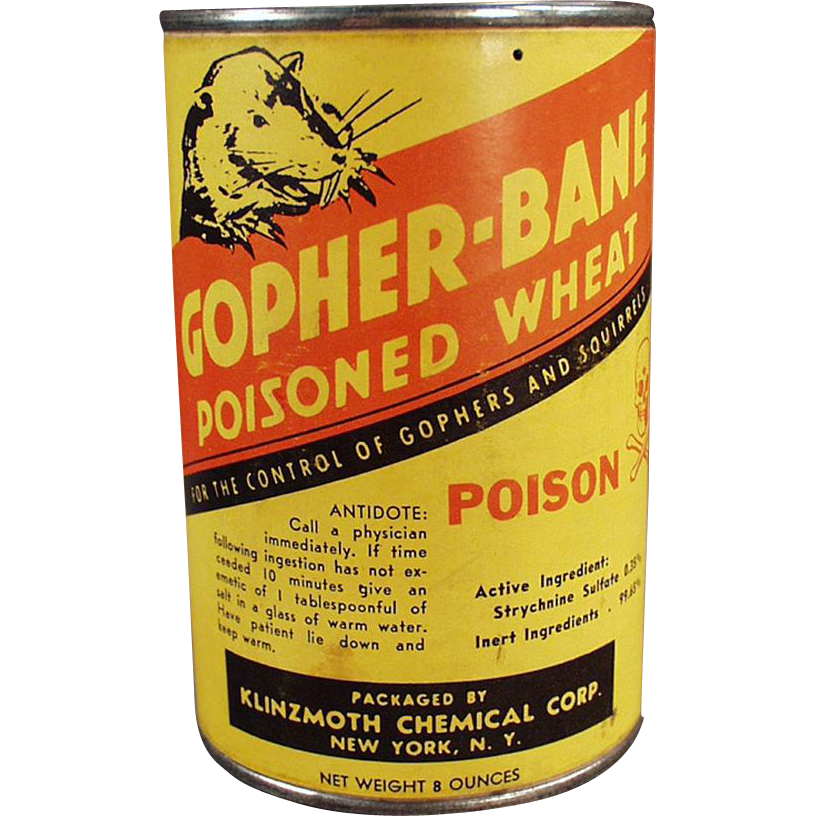 Vintage Gopher Poison Tin - Klinzmoth Gopher Bane