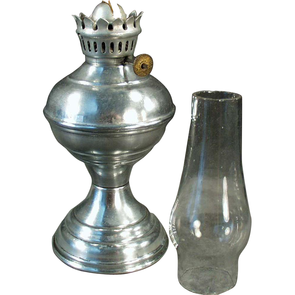 Old, Miniature, Kerosene Oil Lamp with Aluminum Base