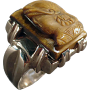 Man's Vintage, Tiger Eye Cameo Ring - 10k Yellow Gold