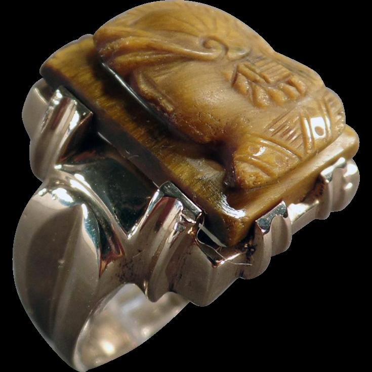 Man's Vintage, Tiger Eye Cameo Ring - 10k Yellow Gold